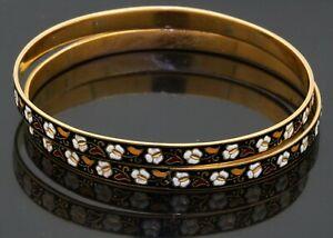 Heavy vintage 22K yellow gold enamel flower 2-piece bangle bracelet set