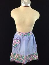 vintage half apron 17 inch purple blue floral front pocket shabby iris chic