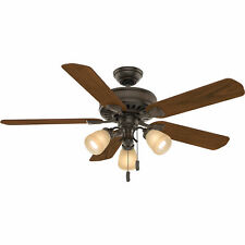 Casablanca Ainsworth 54 Inch Indoor Ceiling Fan w/ Light Kit & Pull Chain, Brown