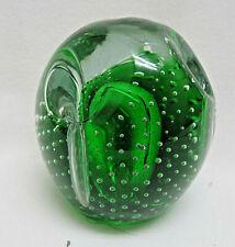 Green Art Glass Dimpled Paper Weight