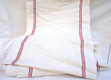 Rare 19 Yards French Red Striped Linen Fabric Toweling Towel Washed Uncut