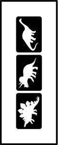 Glitzer Tattoo Schablonen 3 teilig Dinos, Airbrush