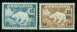 GREENLAND #39-40 (37-8) Polar Bear Ovpt set, og, NH, VF, Scott $76.00
