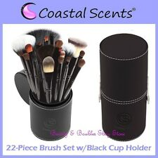 NEW Coastal Scents 22-Piece PROFESSIONAL BRUSH SET w/Black Cup Holder FREE SHIP