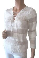 Ralph Lauren Womens Lace up Top Slim Fit Long Sleeves V Neck Blouse Cream Large