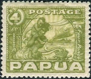 Papua 1932-40 KGV  4d Olive-Green    SG.135 Mint (Hinged)     Cat:£12