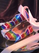 Girls Crystal Shoes Rainbow Colours Infant Size 5