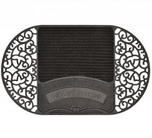 Door Mat Oval Rubber with Boot Cleaner, Black Mat Doormat Shoe Cleaning Pad
