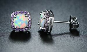 White Fire opals & Amethyst Halo Stud Earrings 14k White Gold Plated Silver