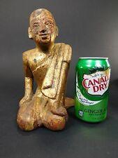 Antique Wooden Gold Gilt Buddha Sculpture Kneeling Praying Thai Statue Carved S3