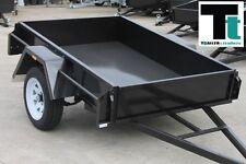 6X4 HEAVY DUTY BOX TRAILER, CHECKER PLATE FLOOR, NEW WHEELS & TYRES