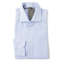 NWT $325 BOGLIOLI Slim-Fit Sky Blue and White Stripe Cotton Shirt 16 x 35