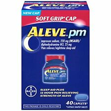 Aleve PM 220mg Pain Reliever Nighttime Sleep Aid Soft Grip Cap 40 ct Each