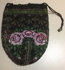 Antique French Victorian Micro Beaded Drawstring Purse
