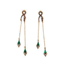 Vintage Snake Studs Earrings Tassel Chandelier Nature Green Stone Drop Pendant