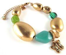 £50 Boho Gold Green Blue Butterfly Charm Bracelet Swarovski Elements Crystal
