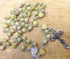 Lemon Jade Rosary; Carved Roses Gemstone #OR100--