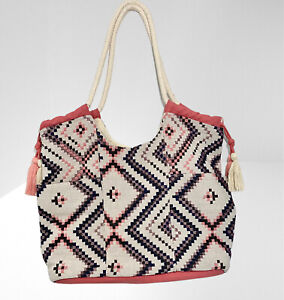 Rope Handle Woven Beach Tote Handbag with Magnetic Snap Button Closures