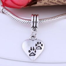 2pcs Tibetan Silver Heart Dog Paw Pendant Bead Fit European Charms Bracelet DIY