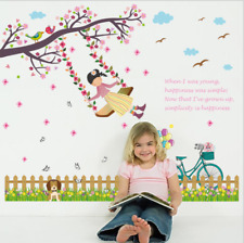 Removable Vinyl Wall Decal quote swing Girl Sticker Home Room DIY Home Decor