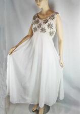 Vintage 60s Mike Benet Sequin Gown Dress Chiffon Skirt Empire Waist Bride Prom