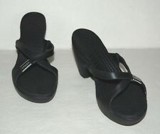 CROCS CYPRESS BLACK RUBBER SLIDE ON STRAPPY HEELS SANDALS WOMEN SZ 8 *GUC*