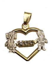 Boy and Girl Heart Pendant 18k Gold Plated with 20 inch - Boy and Girl Necklace
