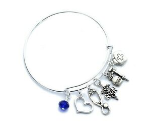 Registered Nurse RN Bangle Charm Bracelet