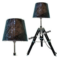 Nautical Marine Table Lamp Black Wooden Tripod Office Decoration
