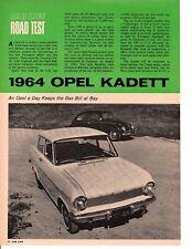 1964 OPEL KADETT ~ ORIGINAL 4-PAGE ROAD TEST / ARTICLE / AD