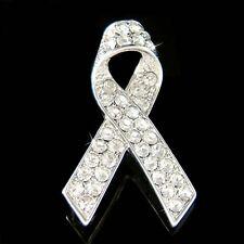 Lung Cancer~ made with Swarovski Crystal Emphysema Awareness Ribbon Pin Brooch