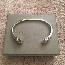 ALEXANDER MCQUEEN Twin Skull Silver Tone Brass Bracelet Cuff One Sz $330 NEW