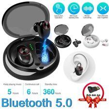 Bluetooth 5.0 True Twins Wireless Headset Earbuds Sport Waterproof IPX7 Black