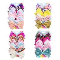 "6pcs/set 5"" Girls Handmade JOJO Hair Bows Clips Heart Daisy Printed Bow Hairpins"