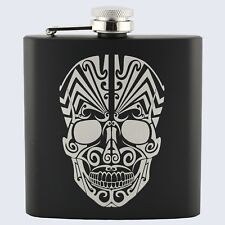 SUGAR CANDY SKULL SKELETON TATTOO Design, Stainless Steel 6oz Hip Flask