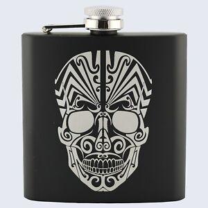 SUGAR CANDY SKULL SKELETON TATTOO Design, Stainless Steel 6oz Hip Flask
