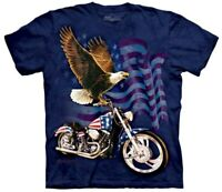 The Mountain Born to Ride Eagle Motorcycle Flag Blue Harley Davidson Shirt S-3X
