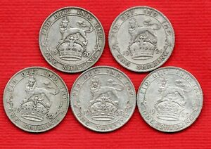 5 X GEORGE V SILVER SHILLING COINS, 1920 - 1925. IN A USED CONDITION. JOB LOT.