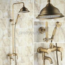 Antique Brass Wall Mounted Bathroom Rainfall Shower Faucet Set Mixer Tap Prs150