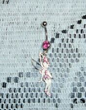 PINK FAIRY PINK  STONE STAINLESS STEEL BODY JEWELRY 1 1/2 ' NEW