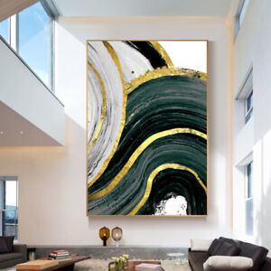 """HH149 100% Hand-painted Abstract oil painting on canvas Golden line Unframed 36"""""""