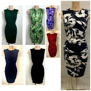 Beautiful Ruch Stretchy Pencil Bodycon Smart Casual Dress Size 8 -18 (9 Colours)
