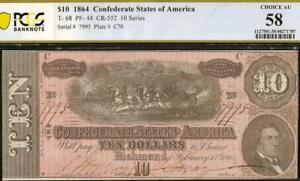 1864 $10 DOLLAR BILL CONFEDERATE STATES NOTE CIVIL WAR CURRENCY MONEY PCGS 58
