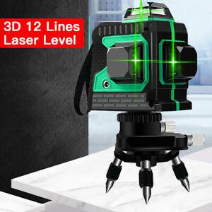 12 Lines Cross Laser Level Meter 3D Green Beam Light Horizontal Vertical Tester