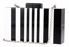 Black White Handbags Clutch Chain Shoulder Acrylic Purse Evening Bag for Women
