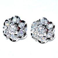 Boucles d'oreilles plaqué argent fleur cristal blanc écrin Bijou earring A2