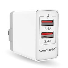Wavlink 24W/4.8A Wall Charger USB Type-A 2 Port Quick Charger with Folding Plug