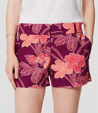 "Ann Taylor LOFT Linen Cotton Oasis Riviera Shorts with 4"" Inseam Size 14 Purple"