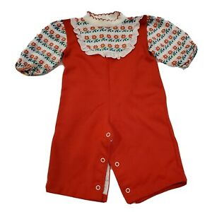 Vintage 70s Girls 12 Months Red Floral Romper Ruffles Snaps Knit