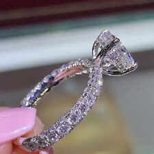 Women White Sapphire Claw Ring Gold Silver Filled Wedding Rings Band Size6-10